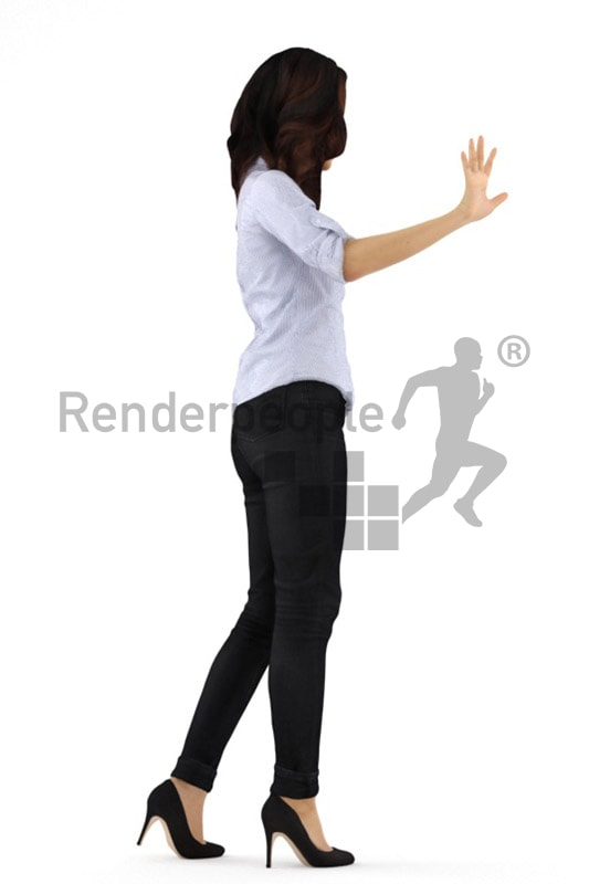 3d people business, asian 3d woman waving