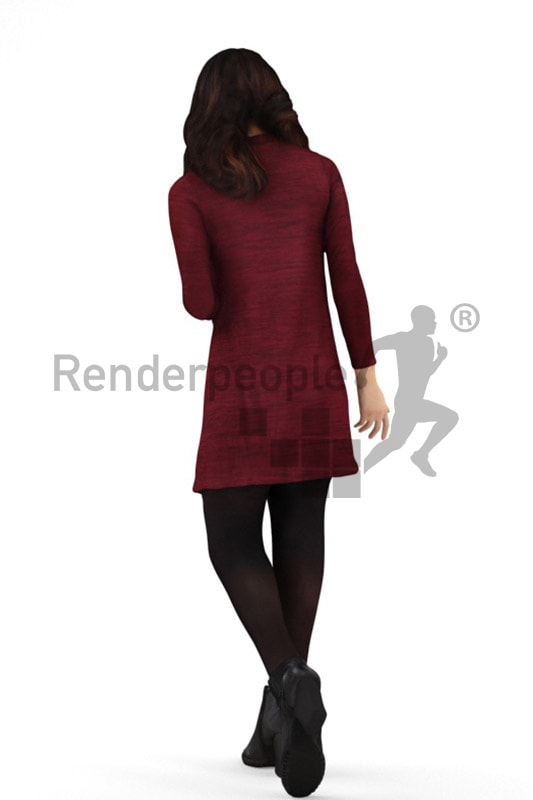 3d people casual, asian 3d woman walking and smiling