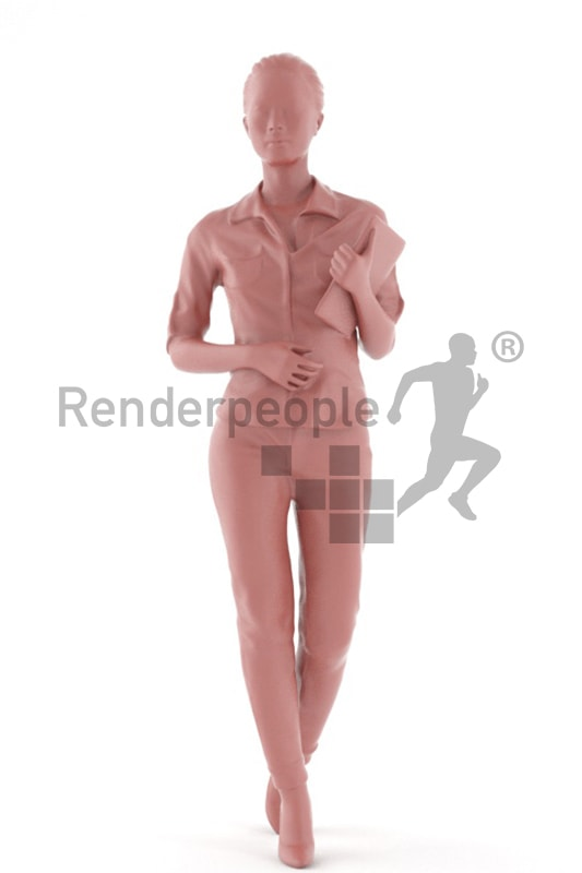 3d people business, asian 3d woman walking with a tablet in her hand