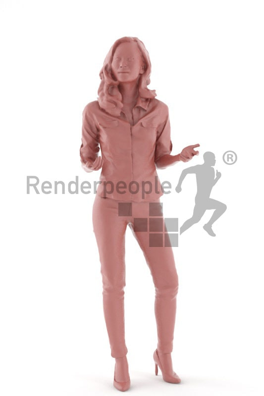 3d people business, asian 3d woman standing and gesturing