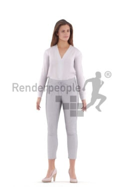 Animated human 3D model by Renderpeople – european female in business look, standing
