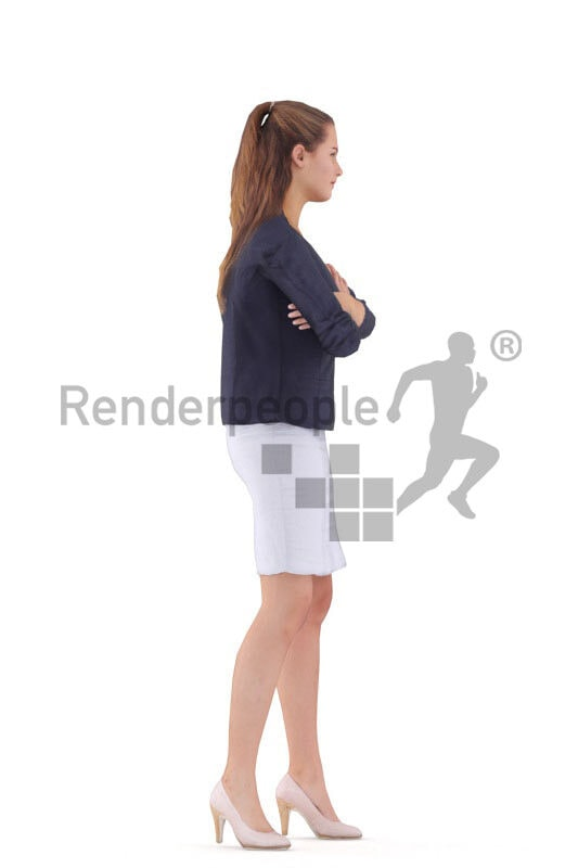 Animated 3D People model for 3ds Max and Maya – european female in smart casual business look, standing