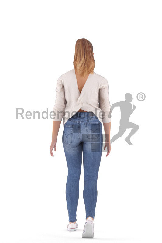Animated 3D People model for realtime, VR and AR – european woman walking in a daily outfit