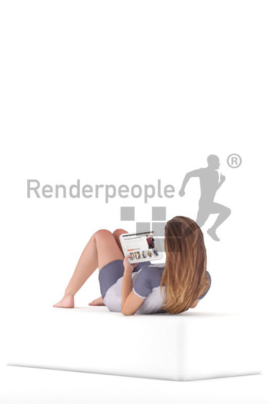 3d people casual, 3d white woman, relaxing animated