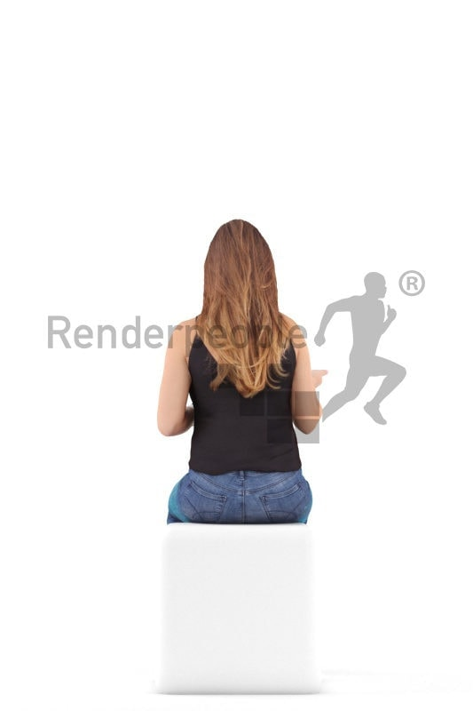 Posed 3D People model for renderings – european woman in daily look sitting and communicating
