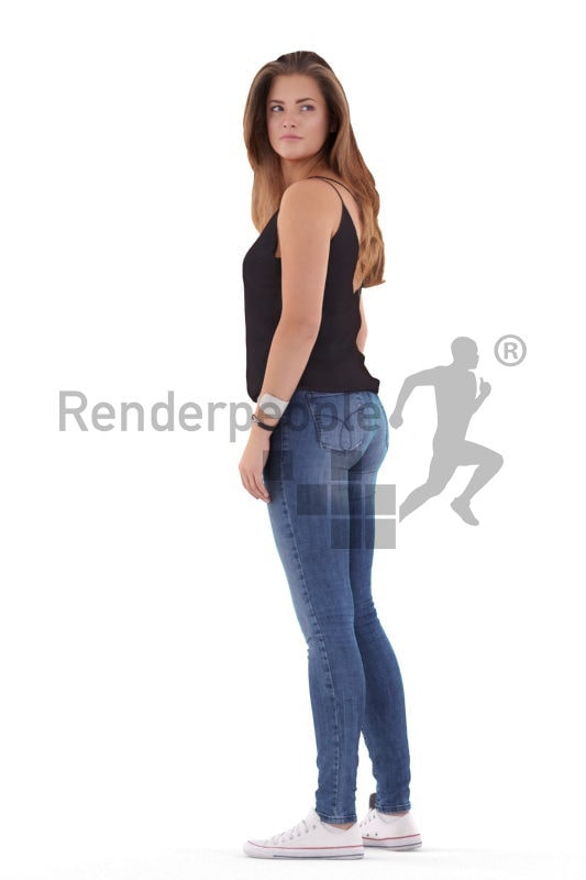 Scanned human 3D model by Renderpeople – white woman in casual freetime wear, standing