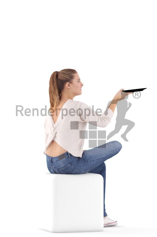 Scanned human 3D model by Renderpeople – european woman sitting and holding a plate