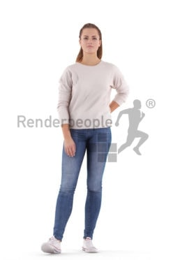 Posed 3D People model for visualization – white woman in daily look, standing and waiting