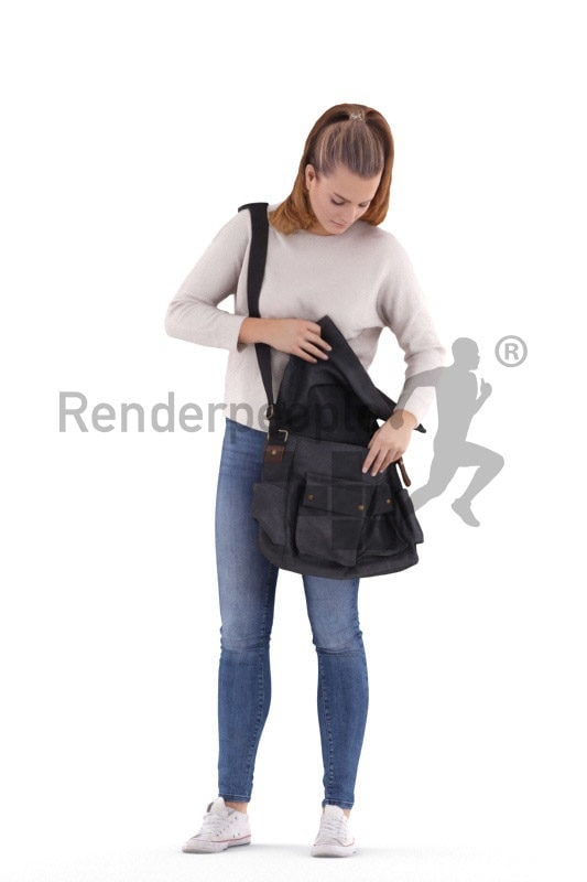 Scanned human 3D model by Renderpeople – european woman in a daily outfit, searching for something in her bag