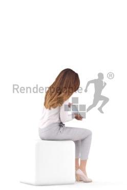 3D People model for 3ds Max and Cinema 4D – european female in office clothing, sitting and holding a tablet