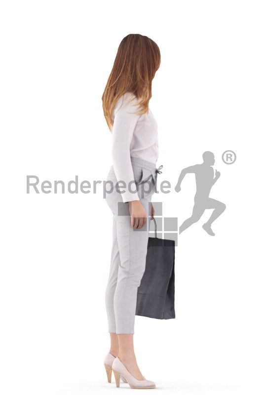Posed 3D People model for visualization – euroepan woman in smart casual look, standing and holding a paperbag