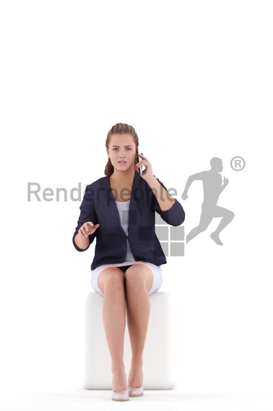 Photorealistic 3D People model by Renderpeople – white woman in office look, sitting and calling