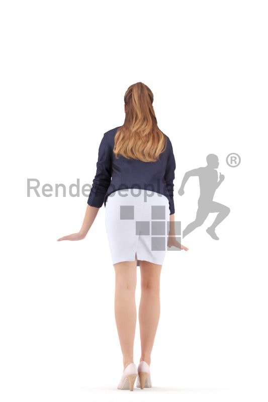 Photorealistic 3D People model by Renderpeople – white woman in office look, leaning on the table