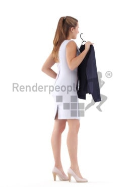 Posed 3D People model for renderings – european woman in business look, looking for a fitting jacket