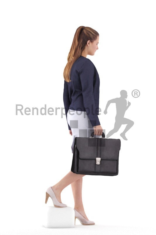 Photorealistic 3D People model by Renderpeople – european female in business clothing, walking downstairs and holding a bag