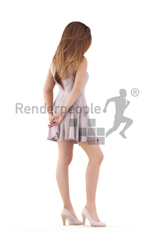 Photorealistic 3D People model by Renderpeople – white woman in event look, standing