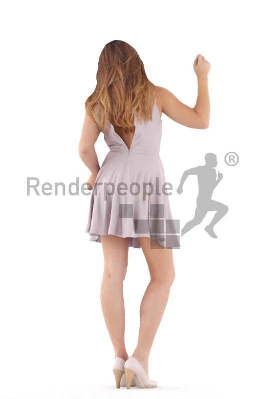 Scanned 3D People model for visualization – eruopean female in event dress, dancing