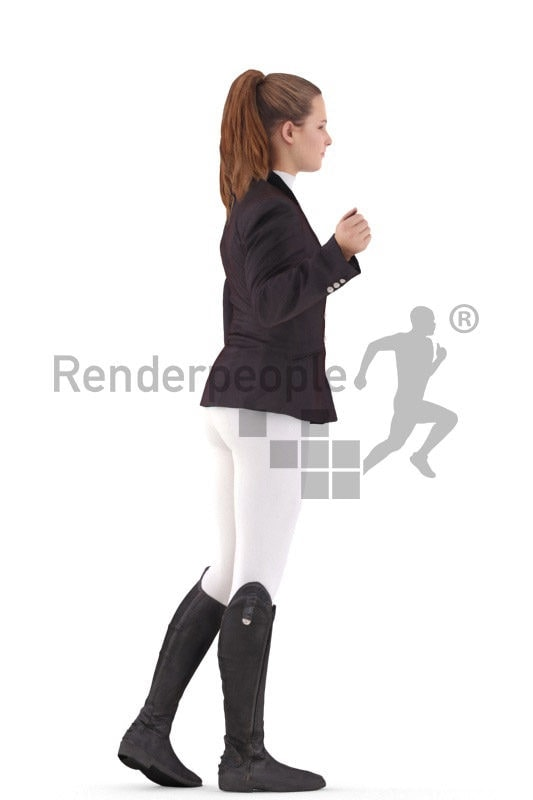 3D People model for 3ds Max and Blender – white woman in riding outfit, interacting with a horse