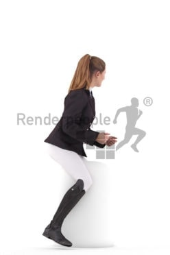 Posed 3D People model for renderings – european woman in riding outfit, riding a horse