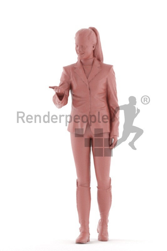 Posed 3D People model for renderings – european woman in riding outfit, feeding a horse
