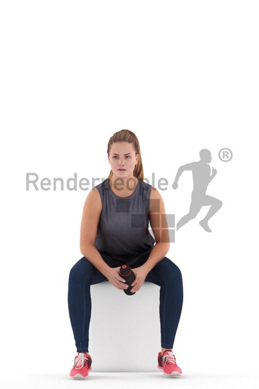3D People model for 3ds Max and Sketch Up – european woman in sports dress, sitting and holding a bottle