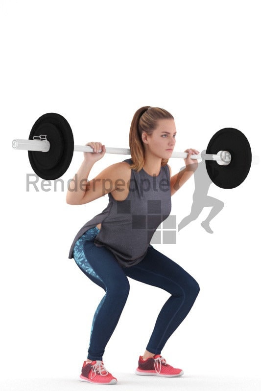 3D People model for 3ds Max and Sketch Up – european woman in sports dress, lifting weights