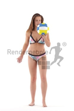 Posed 3D People model by Renderpeople – european female in bikini, playing beach volleyball
