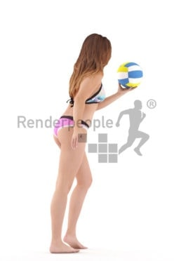 Posed 3D People model by Renderpeople – european female in bikini, playing beach volleyball