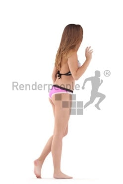Posed 3D People model by Renderpeople – white woman in bikini, walking and greeting