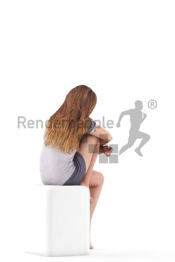 Posed 3D People model for visualization – european woman in shorty pyjama, sitting and listening