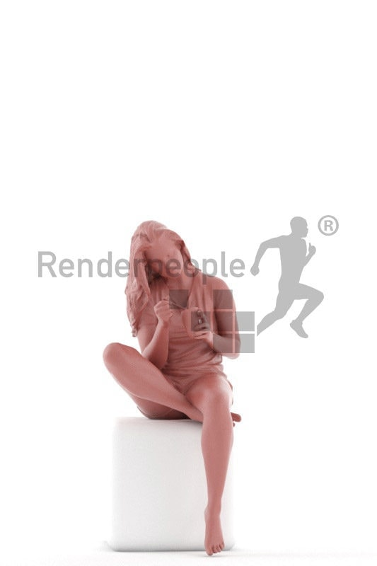 3D People model for 3ds Max and Cinema 4D – european woman in summer sleepwear, sitting and eating