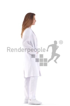 Posed 3D People model for visualization – european female doctor, standing