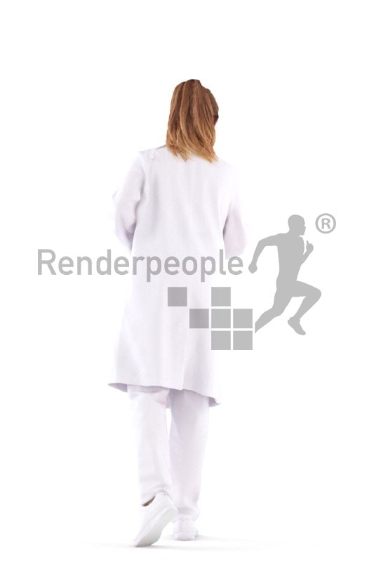 Posed 3D People model for visualization – european female doctor, with, gloves,mask and a clipboard, pointing on something