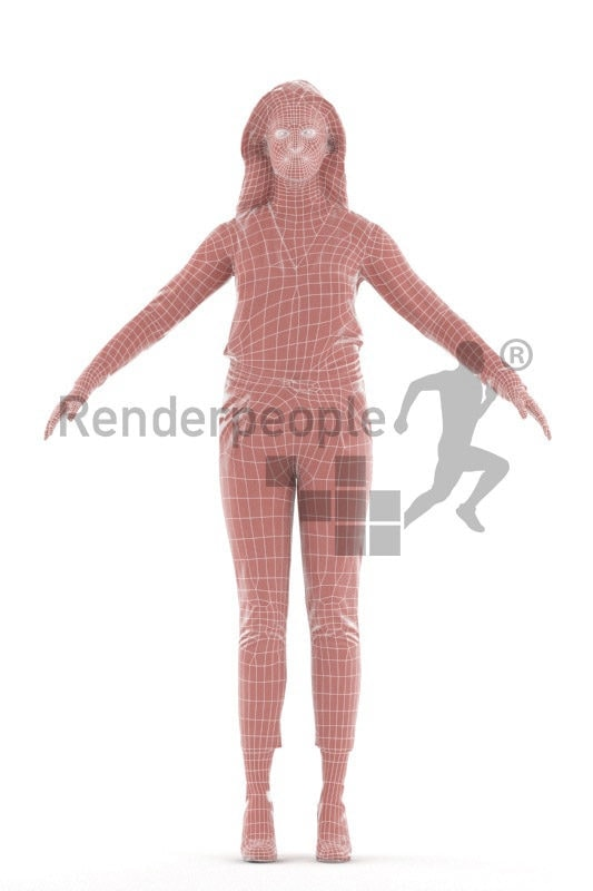 Rigged 3D People model by Renderpeople - European female in business outfit