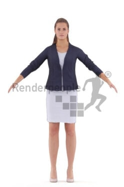 Rigged and retopologized 3D People model – European woman in business outfit, skirt, ponytail