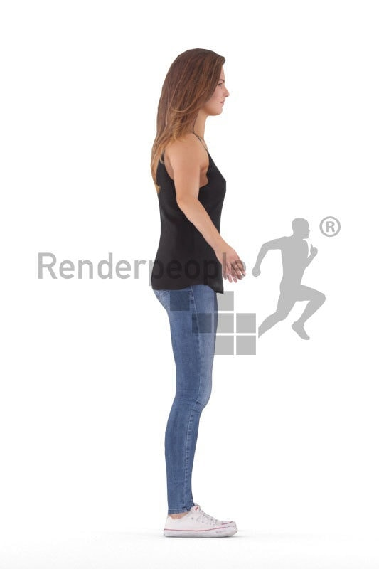 Rigged human 3D model by Renderpeople – european woman, in a presummer casual style
