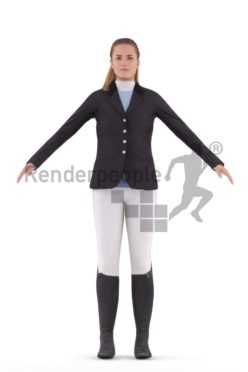 Rigged human 3D model by Renderpeople – european woman in riding dress