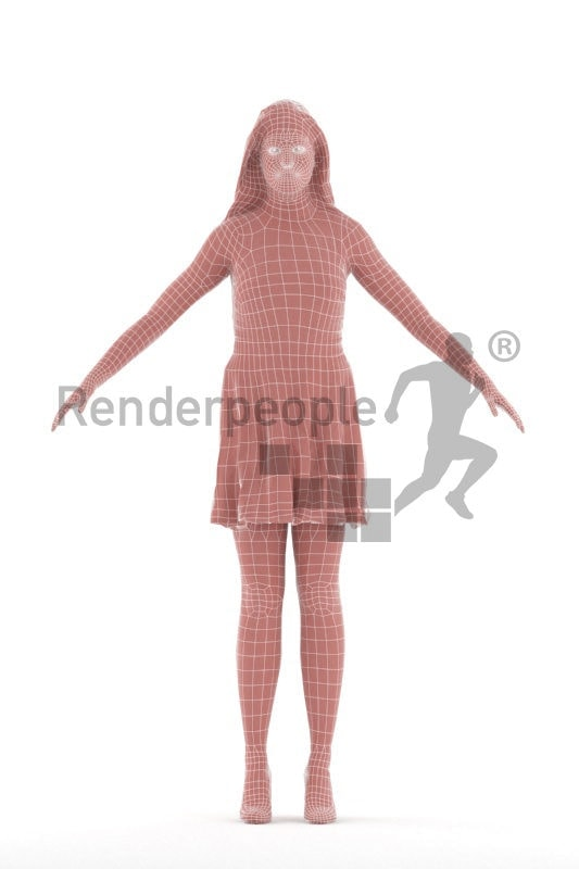 Rigged 3D People model for Maya and Cinema 4D – white woman, event, chic