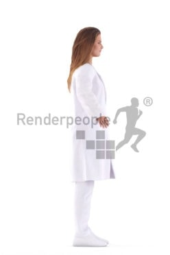 Rigged human 3D model by Renderpeople – european woman in doctor´s coat