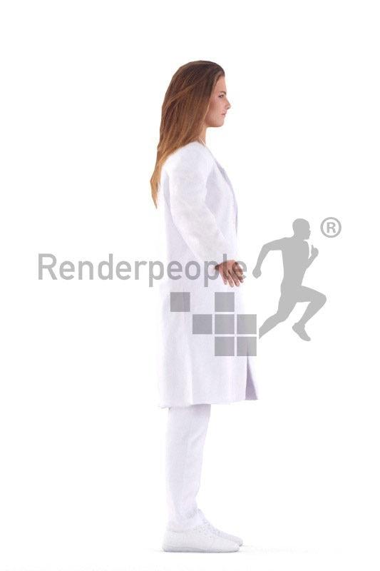 Rigged human 3D model by Renderpeople – european woman in doctor´s coat