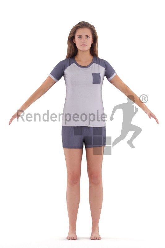 Rigged 3D People model for Maya and Cinema 4D – european woman in sleepwear