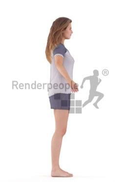 Rigged 3D People model for Maya and Cinema 4D – european woman in sleepwear