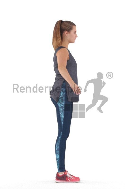 Rigged human 3D model by Renderpeople – european woman in gym wear