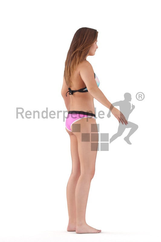Rigged and retopologized 3D People model – european woman in bikini