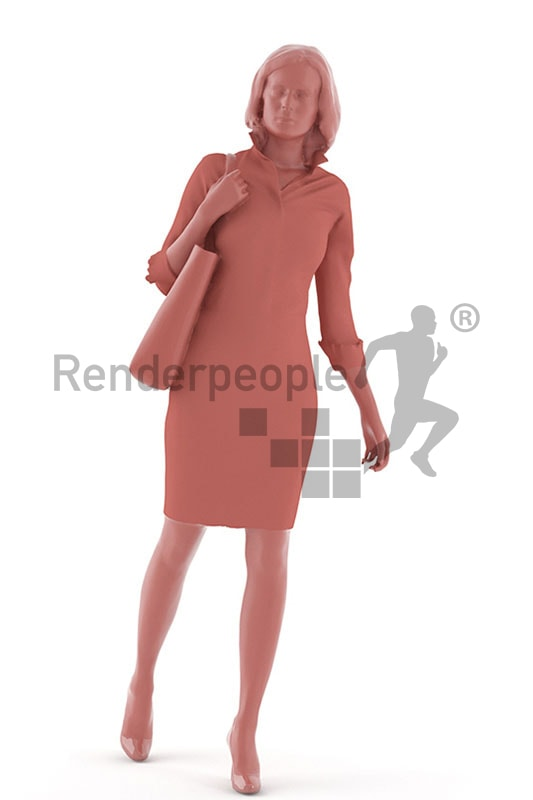 3d people shopping, white 3d woman on shopping tour with a bag