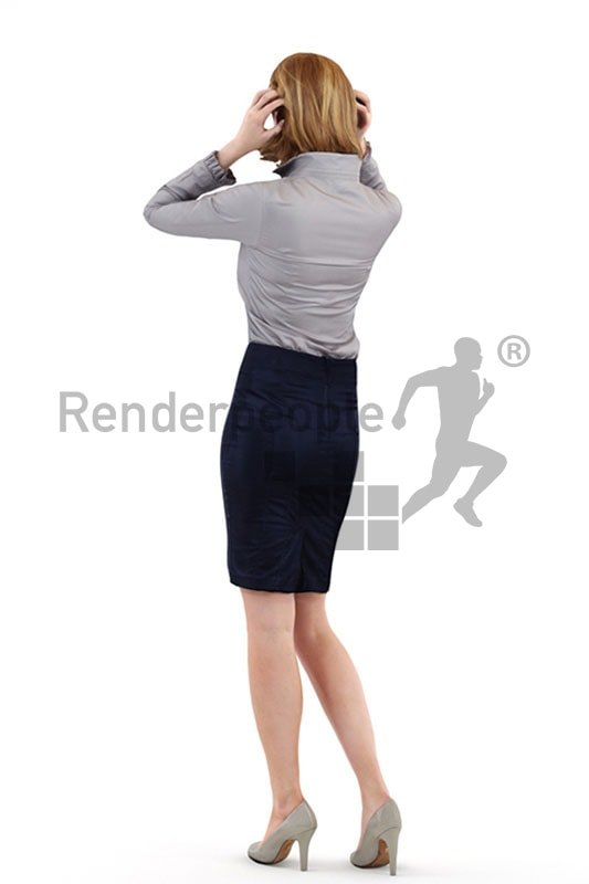 3d people business, white 3d woman fixing her hair