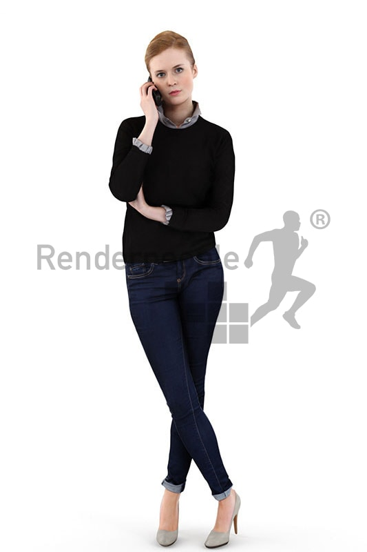 3d people casual, white 3d woman standing and talking on the phone