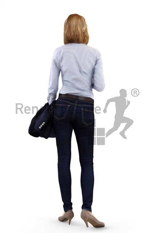 3d people business, white 3d woman holding a cup and carrying her blazer