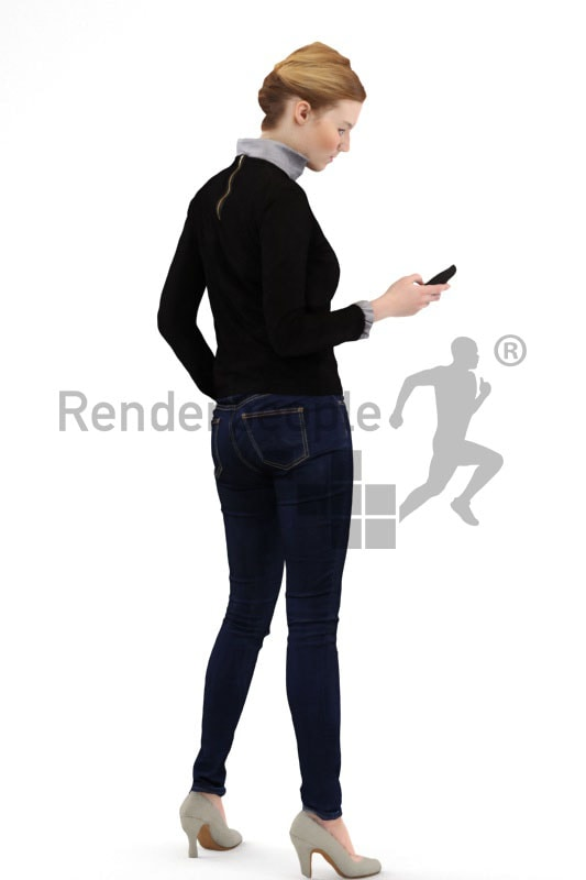 3d people casual, white 3d woman standing and typing on her phone