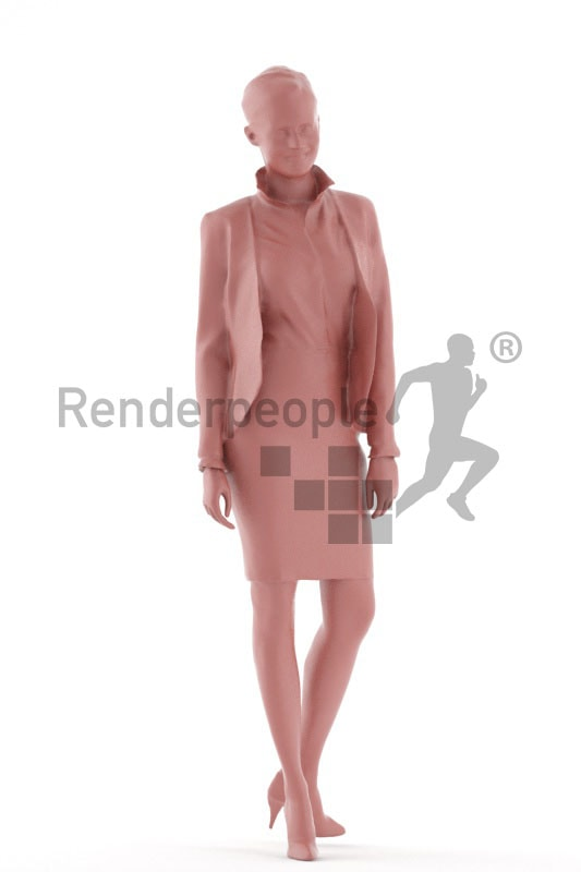 3d people business, white 3d woman walking and smiling